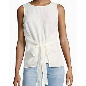 400 Halston heritage white tie front wrap over top